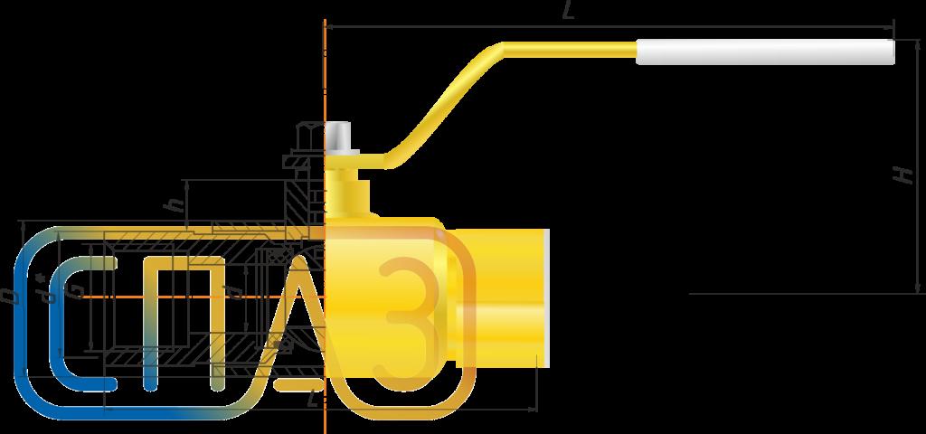 Кран шаровый СПАЗ газовый муфтовый полнопроходной