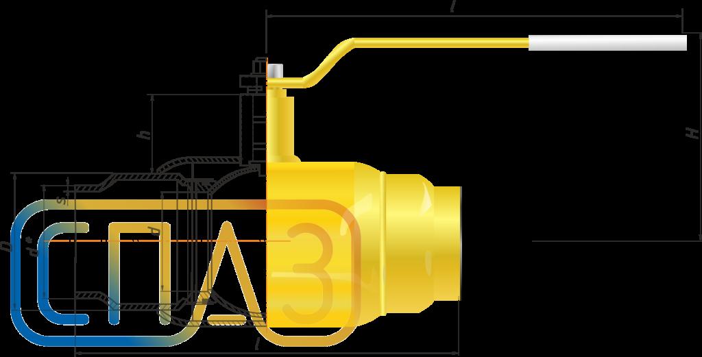 Кран шаровый газовый СПАЗ приварной полнопроходной