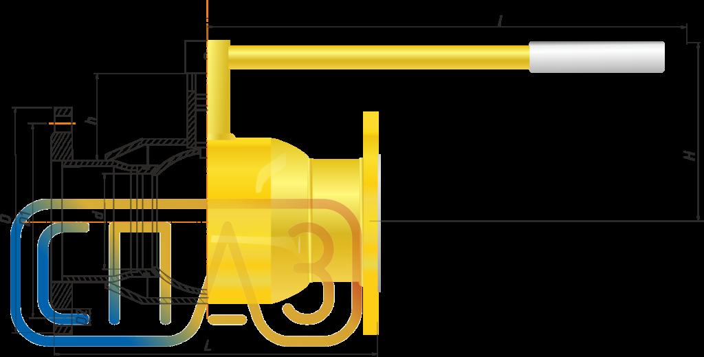 Кран шаровый СПАЗ газовый фланцевый редуцированный