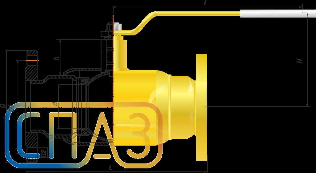 Кран шаровый СПАЗ газовый фланцевый полнопроходной