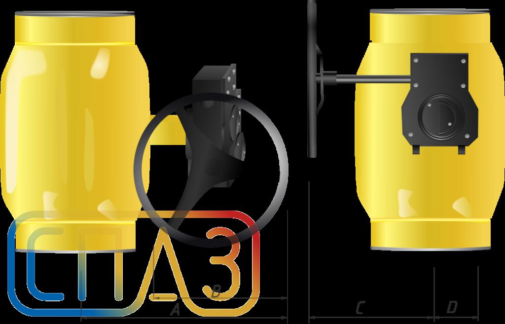 Кран шаровый СПАЗ с редуктором газовый редуцированныйирова